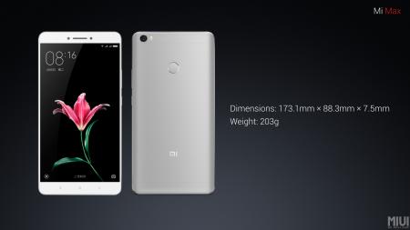 Dimensiones y peso del Xiaomi Mi Max