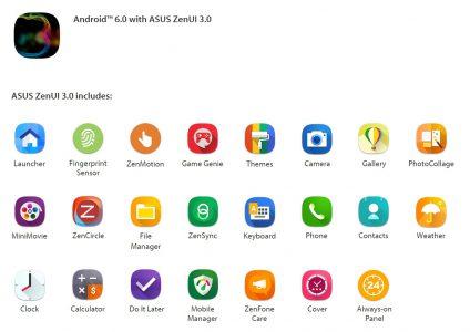 Apps incluidas en la interfaz Asus ZenUI 3.0