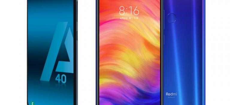 Samsung Galaxy A40 vs Xiaomi Redmi Note 7, diferencias, comparativa, opiniones
