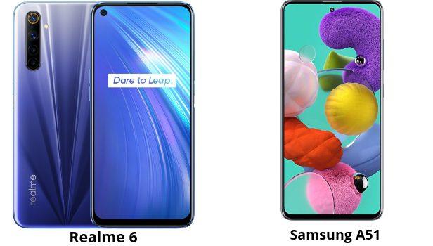 Realme 6 vs Samsung A51 comparativa, opinión, diferencias en cámara, pantalla, batería, rendimiento, precio